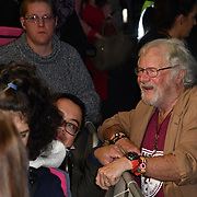 Bill Oddie singing autography to fans attend Johnny English Strikes Again at CURZON MAYFAIR, London, Uk. 3 October 2018.