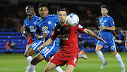 Gwion Edwards looking to control the ball during the Capital One Cup match between Peterborough United and Crawley Town at London Road, Peterborough, England on 11 August 2015. Photo by Michael Hulf.