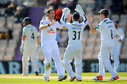 Hampshire's James Tomlinson celebrates taking the wicket of Warwickshire's Tim Ambrose during the Specsavers County Champ Div 1 match between Hampshire County Cricket Club and Warwickshire County Cricket Club at the Ageas Bowl, Southampton, United Kingdom on 12 April 2016. Photo by Graham Hunt.