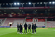 Brighton players on the pitch on arrival ahead of the Premier League match between Bournemouth and Brighton and Hove Albion at the Vitality Stadium, Bournemouth, England on 21 January 2020.