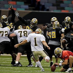 24 August 2009: New Orleans Saints PK John Carney (1) kicks a field goal during New Orleans Saints training camp practice at the Louisiana Superdome in New Orleans, Louisiana.