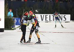 28.12.2013, Veltins Arena, Gelsenkirchen, GER, IBU Biathlon, Biathlon World Team Challenge 2013, im Bild Laura Dahlmeier (Deutschland / Germany), Florian Graf (Deutschland / Germany) jubeln beim Zieleinlauf, freuen sich, celebrating their victory, Emtotion, Freude, Glueck, Luck // during the IBU Biathlon World Team Challenge 2013 at the Veltins Arena in Gelsenkirchen, Germany on 2013/12/28. EXPA Pictures © 2013, PhotoCredit: EXPA/ Eibner-Pressefoto/ Schueler<br /> <br /> *****ATTENTION - OUT of GER*****