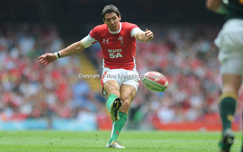 05.06.10 - Wales v South Africa - Principality Building Society Summer Test -<br /> James Hook of Wales kicks a drop goal.<br /> &copy;Huw Evans Picture Agency