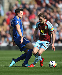 Ashley Barnes of Burnley (R) and Harry Maguire of Leicester City in action - Mandatory by-line: Jack Phillips/JMP - 14/04/2018 - FOOTBALL - Turf Moor - Burnley, England - Burnley v Leicester City - English Premier League
