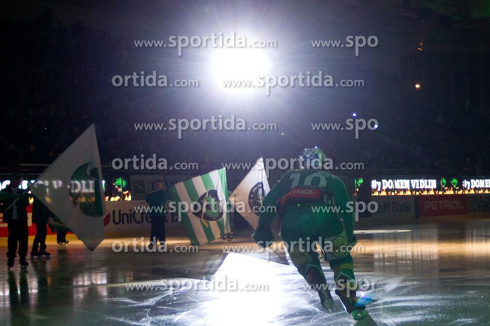 Brock McBride (HDD Tilia Olimpija, #10) during ice-hockey match between HDD Tilia Olimpija and SAPA Fehervar AV19 at sixth match in Quarterfinal  of EBEL league, on March 1, 2012 at Hala Tivoli, Ljubljana, Slovenia. HDD Tilia Olimpija won 4:3 and advanced to semifinal. (Photo By Matic Klansek Velej / Sportida)