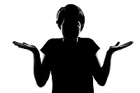 one caucasian young teenager silhouette boy or girl  ignorant hesitation shrugging gesture portrait in studio cut out isolated on white background