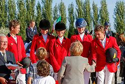 Mathijs Jean Jacques (BEL - chef d'equipe), Mercenier Gauthier (BEL), Vleugels Valerie (BEL), Van de Poel Vicky (BEL), Delforge Victoire (BEL), Verlooy Jos (BEL)<br /> Silver medal <br /> European Championship Childern - Moorsele 2009<br /> © Hippo Foto - Dirk Caremans