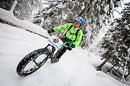 Bikedoctor at work during stage 5 of the first Snow Epic, the Trübsee climb near Engelberg, in the heart of the Swiss Alps, Switzerland on the 17th January 2015<br /> <br /> <br /> Photo by:  Marc Gasch / Snow Epic / SPORTZPICS