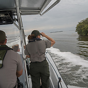 FLORIDA CITY, FLORIDA - APRIL 22, 2016<br /> Boats from the United States Parks Service head out on the waters of the Everglades National Park with Sally Jewell, United States Secretary of the Interior,  to look at dying sea grass in the waters of the Everglades. <br /> (Photo by Angel Valentin)