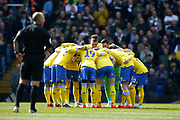 Leeds players pre match huddle during the EFL Sky Bet Championship match between Birmingham City and Leeds United at St Andrews, Birmingham, England on 6 April 2019.