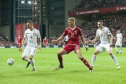 September 1, 2017 - Copenhagen, Denmark - Krzysztof Maczynski (5) and Artur Jedrzejczyk (3) fight for the ball with Andreas Cornelius of Denmark during the FIFA World Cup 2018 Qualifying Round between Denmark and Poland at Telia Parken Stadium in Copenhagen, Denmark on September 1, 2017  (Credit Image: © Andrew Surma/NurPhoto via ZUMA Press)