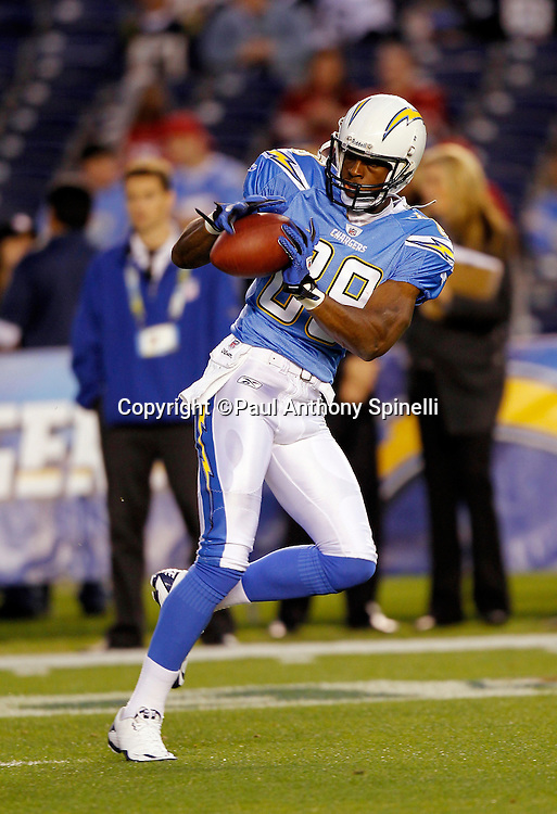San Diego Chargers wide receiver Seyi Ajirotutu (89) catches a pregame pass during the NFL week 15 football game against the San Francisco 49ers on Thursday, December 16, 2010 in San Diego, California. The Chargers won the game 34-7. (©Paul Anthony Spinelli)