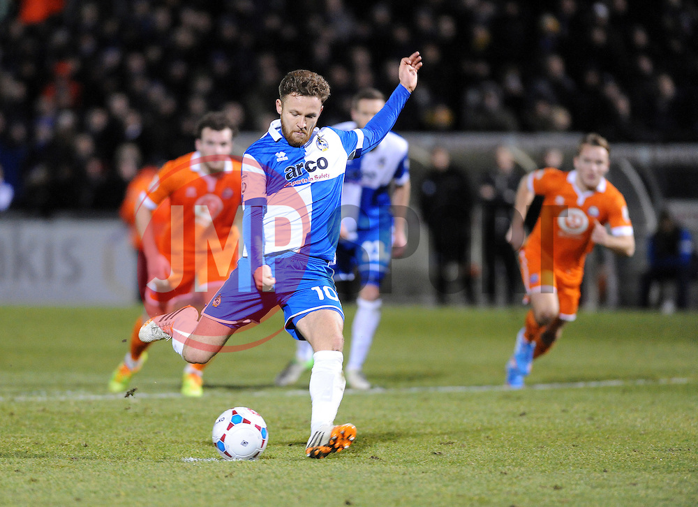 Bristol Rovers' Matty Taylor scores the penalty - Photo mandatory by-line: Neil Brookman/JMP - Mobile: 07966 386802 - 24/02/2015 - SPORT - Football - Bristol - Memorial Stadium - Bristol Rovers v Braintree - Vanarama Football Conference