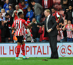 Southampton Manager, Ronald Koeman shakes hands with Southampton's Nathaniel Clyne after the game - Photo mandatory by-line: Dougie Allward/JMP - Mobile: 07966 386802 - 25/10/2014 - SPORT - Football - Southampton - ST Mary's Stadium - Southampton v Stoke - Barclays Premier League