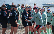 London, Great Britain, The crews shake hands, after the race, won by OUWBC. The Newton Women's Boat race and the reserve races Mortlake. ENGLAND. <br /> <br /> CUWBC Crew: Fanny BELAIS, Ashton BROWN, Caroline REID, Clare WATKINS, Melissa WILSON, Holly HILL, Daphne MARTSCHENKO,Hannah EVANS, Cox Rosemary OSTFELD.<br /> <br /> OUWBC Crew: <br /> Maxie SCHESKE, Anastasia CHITTY, Shelley PEARSON, Lauren KEDAR, Maddy BADCOTT, Emily REYNOLDS, Nadine GRAEDEL IBERG, Caryn DAVIES and Cox Jennifer EHR<br /> <br /> 17:21:48  Saturday  11/04/2015<br /> <br /> [Mandatory Credit; Intersport-images]