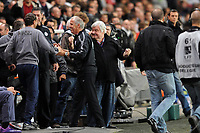 FOOTBALL - FRENCH CHAMPIONSHIP 2011/2012 - L1 - STADE RENNAIS v MONTPELLIER HSC - 7/05/2012 - PHOTO PASCAL ALLEE / DPPI - JOY RENE GIRARD (MONTPELLIER COACH) AND LOUIS NICOLLIN (MONTPELLIER PRESIDENT)