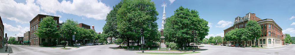 Summer panorama of Central Square, Keene, New Hampshire.