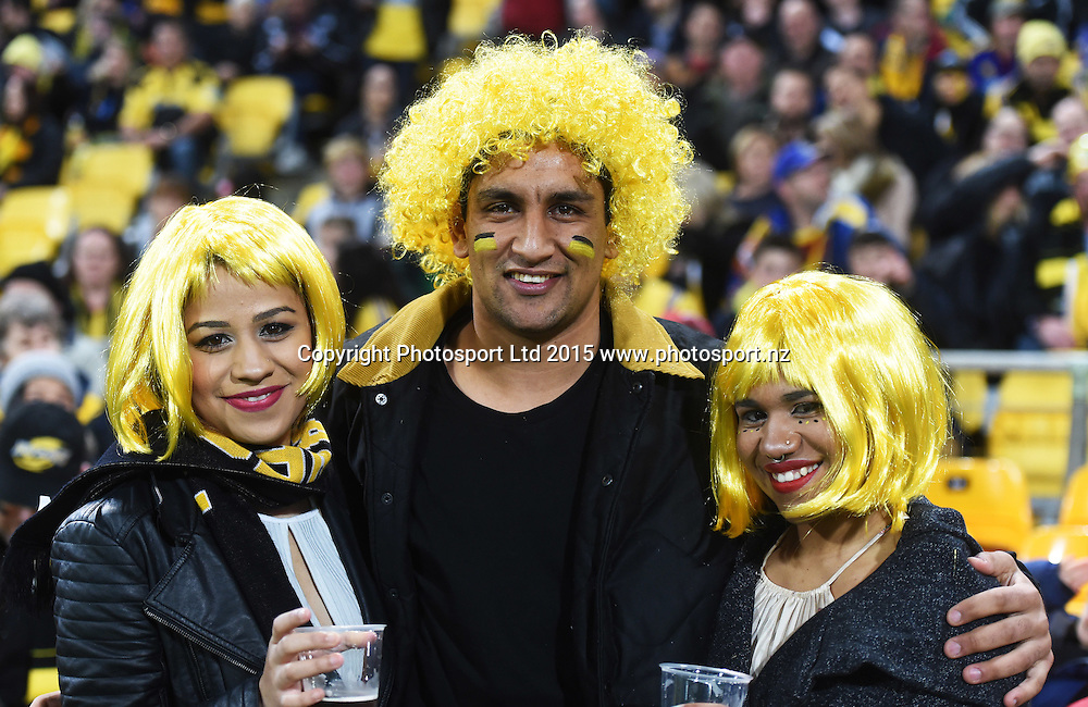 Fans during the Super Rugby Final between the Hurricanes and Highlanders at Westpac Stadium in Wellington., New Zealand. Saturday 4 July 2015. Copyright Photo: Andrew Cornaga / www.Photosport.nz