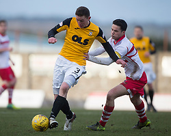 East Fife&rsquo;s Pat Slattery and Stirling Albion's Willie Robertson. <br /> East Fife 1 v 0 Stirling Albion, Scottish Football League Division Two game played atBayview Stadium, 20/2/2106.