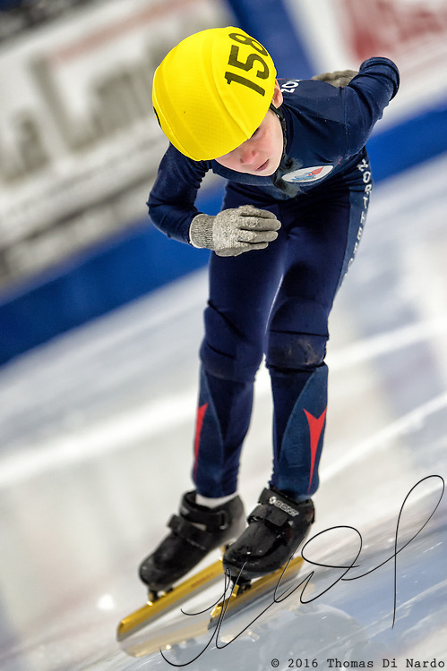 March 19, 2016 - Verona, WI - Jon Olson, skater number 158 competes in US Speedskating Short Track Age Group Nationals and AmCup Final held at the Verona Ice Arena.