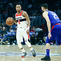09 December 2017: LA Clippers guard Austin Rivers (25) defends on Washington Wizards guard Tim Frazier (8) during the LA Clippers 113-112 victory over the Washington Wizards, at the Staples Center, Los Angeles, California, USA.