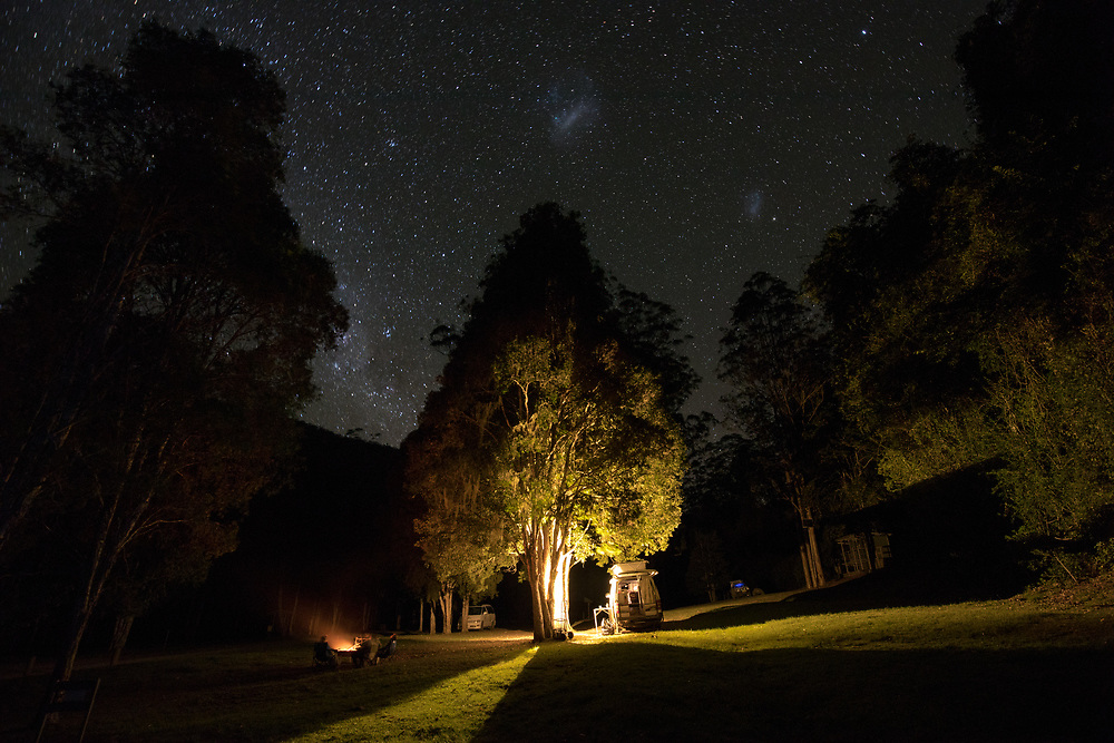 Night time camping under a clear starry sky at Goucester River within Barrington Tops National Park.