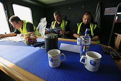 UK ENGLAND NORFOLK SHERINGHAM SHOAL 25SEP13 - Maintenance and inspection engineers during transit on the Tidal Transit vessel Tia Elizabeth en route to the Sheringham Shoal wind farm in the North Sea off the Norfolk coast, England.<br /> <br /> <br /> <br /> jre/Photo by Jiri Rezac<br /> <br /> <br /> <br /> © Jiri Rezac 2013