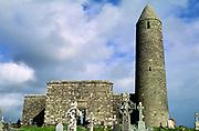 Round tower and monastic ruin, Ireland