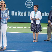 August 22, 2016, New Haven, Connecticut: <br /> Tournament Director Anne Worcester speaks alongside New Haven Mayor Toni Harp and Yale University President Peter Salovey during the Opening Ceremonies on Day 4 of the 2016 Connecticut Open at the Yale University Tennis Center on Monday August  22, 2016 in New Haven, Connecticut. <br /> (Photo by Billie Weiss/Connecticut Open)