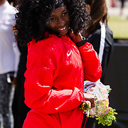 23 March 2018: San Diego State senior Monique McPherson is recognized during a seniors ceremony at  the final day of the 43rd annual Aztec Invitational.<br /> More game action at sdsuaztecphotos.com