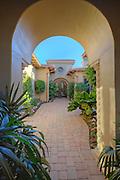 Doorway to courtyard of luxury manor house