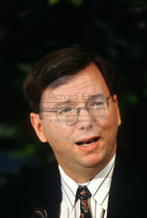 Eric Schmidt, CEO of Novell Corporation during a technology event at the National Press Club June 4, 1997 in Washington, DC.