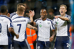 Saido Berahino of West Brom (2R) celebrates with Brown Ideye, James Morrison and Darren Fletcher after scoring a goal to make it 2-0 - Photo mandatory by-line: Rogan Thomson/JMP - 07966 386802 - 11/02/2015 - SPORT - FOOTBALL - West Bromwich, England - The Hawthorns - West Bromwich Albion v Swansea City - Barclays Premier League.