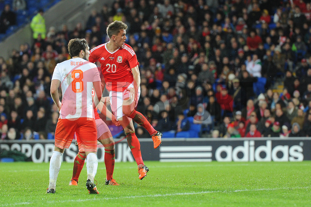Emyr Huws of Wales scores to make it 2-2 - Mandatory byline: Dougie Allward/JMP - 07966 386802 - 13/11/2015 - FOOTBALL - Cardiff City Stadium - Cardiff, Wales - Wales v Netherlands - International Friendly