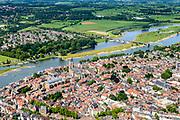 Nederland, Overijssel, Deventer, 17-07-2017; overzicht binnenstad Deventer met o.a. Lebuinuskerk, IJsselkade, Welle.  De Worp aan de overzijde van de rivier.<br /> Overview downtown Deventer, Deventer city centre.<br /> <br /> luchtfoto (toeslag op standard tarieven);<br /> aerial photo (additional fee required);<br /> copyright foto/photo Siebe Swart