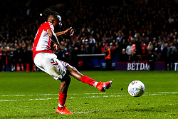 Joe Aribo of Charlton Athletic scores his penalty in the shootout - Mandatory by-line: Robbie Stephenson/JMP - 17/05/2019 - FOOTBALL - The Valley - Charlton, London, England - Charlton Athletic v Doncaster Rovers - Sky Bet League One Play-off Semi-Final 2nd Leg