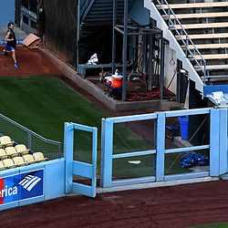 Los Angeles Dodgers starting pitcher Clayton Kershaw in the bullpen during a workout prior to the upcoming World Series on Tuesday at Dodger Stadium on Sunday, Oct. 22, 2017 in Los Angeles. (Photo by Keith Birmingham, Pasadena Star-News/SCNG)