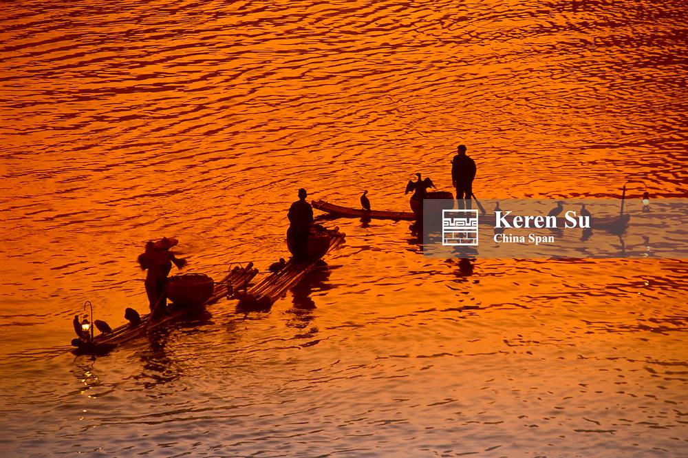 Fisherman and cormorants on bamboo raft on the Li River at dawn, Guangxi Province, China