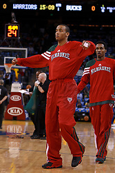 Mar 16, 2012; Oakland, CA, USA; Milwaukee Bucks point guard Monta Ellis (11) warms up before the game against the Golden State Warriors at Oracle Arena. Milwaukee defeated Golden State 120-98. Mandatory Credit: Jason O. Watson-US PRESSWIRE