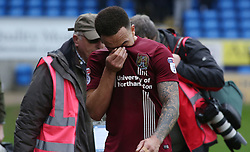 Shay Facey of Northampton Town cuts a dejected figure as he leaves the pitch at full-time - Mandatory by-line: Joe Dent/JMP - 02/04/2018 - FOOTBALL - ABAX Stadium - Peterborough, England - Peterborough United v Northampton Town - Sky Bet League One