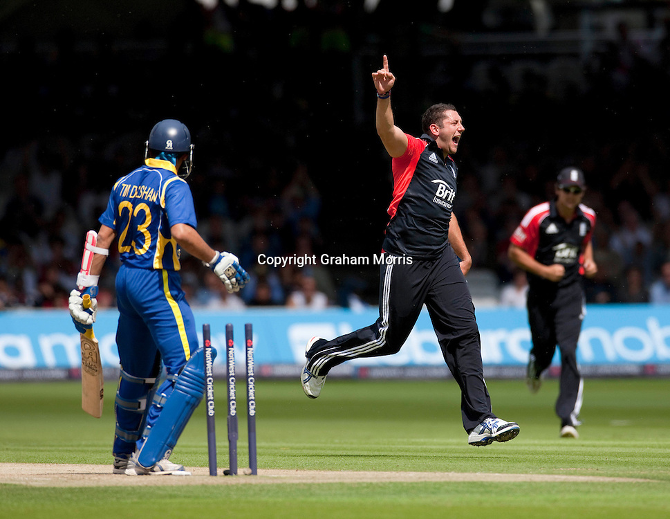 Tillakaratne Dilshan is bowled by Tim Bresnan (celebrating) during the third one day international between England and Sri Lanka at Lord's, London. Photo: Graham Morris (Tel: +44(0)20 8969 4192 Email: sales@cricketpix.com) 03/07/11