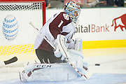 DALLAS, TX - SEPTEMBER 26:  Semyon Varlamov #1 of the Colorado Avalanche blocks a shot against the Dallas Stars in an NHL preseason game on September 26, 2013 at the American Airlines Center in Dallas, Texas.  (Photo by Cooper Neill/Getty Images) *** Local Caption *** Semyon Varlamov