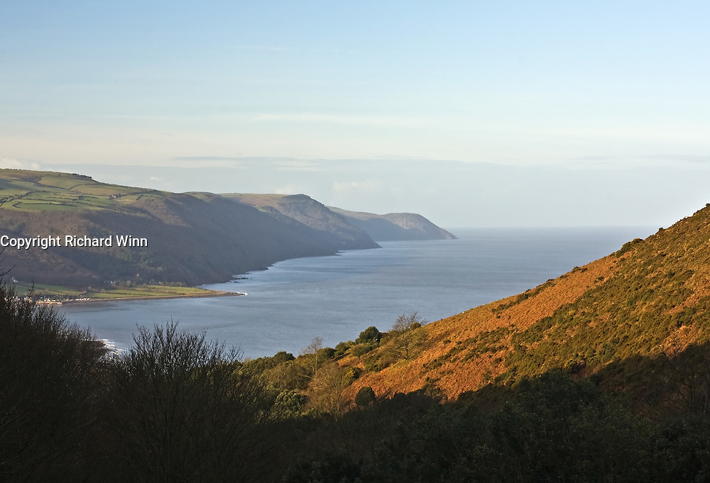 Early morning light over Porlock Bay in January. Part of the Exmoor coast, one of the highest coastlines in the UK, with views across the Severn estuary to Wales.