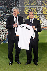 26.06.2013, Estadio Santiago Bernabeu, Madrid, ESP, Primera Division, Real Madrid, Praesentation Trainer Carlo Ancelotti, im Bild Real Madrid's new coach Carlo Ancelotti with the President Florentino Perez // during his official presentation.June 26, 2013. during official presentation of Spanish Primera Division club Real Madrid new coach Carlo Ancelotti at the Estadio Santiago Bernabeu, Madrid, Spain on 2013/06/26. EXPA Pictures © 2013, PhotoCredit: EXPA/ Alterphotos/ Acero<br /> <br /> ***** ATTENTION - OUT OF ESP and SUI *****
