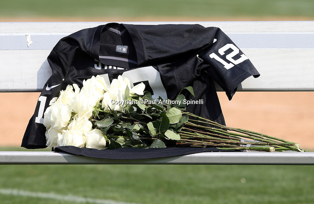 A pile of white roses decorate the jersey of recently deceased Oakland Raiders quarterback Kenny Stabler during a halftime tribute to the former Raider during the 2015 NFL week 1 regular season football game against the Cincinnati Bengals on Sunday, Sept. 13, 2015 in Oakland, Calif. The Bengals won the game 33-13. (©Paul Anthony Spinelli)