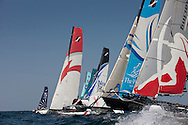 Extreme Sailing Series 2011. Leg 1. Muscat. Oman.The fleet during a practice day