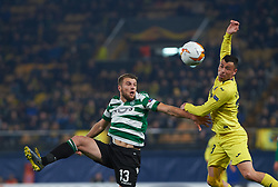 February 21, 2019 - Villarreal, Castellon, Spain - Javi Fuego of Villarreal CF and Stefan Ristovski of Sporting Lisboa during the UEFA Europa League Round of 32 Second Leg match between Villarreal and Sporting Lisboa at Estadio de La Ceramica on February 21, 2019 in Vila-real, Spain. (Credit Image: © AFP7 via ZUMA Wire)
