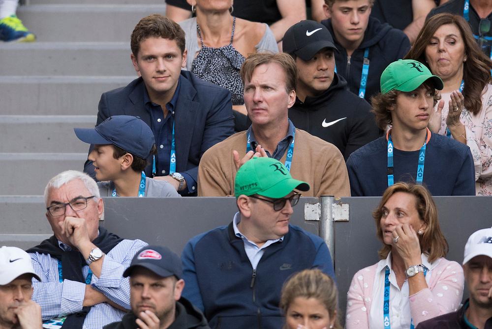 Roger Federer of Switzerland's players box on day ten of the 2018 Australian Open in Melbourne Australia on Wednesday January 24, 2018.<br /> (Ben Solomon/Tennis Australia)