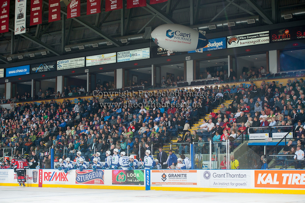 KELOWNA, CANADA - OCTOBER 7: The Capri air ship floats over the crowd on October 7, 2014 at Prospera Place in Kelowna, British Columbia, Canada.  (Photo by Marissa Baecker/Getty Images)  *** Local Caption *** airship; oddity;