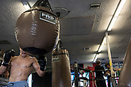 June 8, 2017 / Hollywood, Calif.<br /> <br /> Aaron Pico, 20, goes head-to-head with the heavy bag while training at the legendary Wild Card Boxing Club in Hollywood. (Melissa Lyttle for ESPN)
